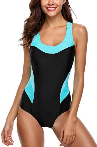 Avacoo Damen Badeanzug Figurformend Schwimmanzug Mit Performance-Schnitt Racer-Back Sport Bademode, Schwarz+türkis, 42 / XL