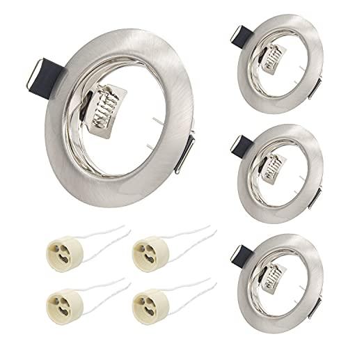 4er Set LED Einbaustrahler GU10 Set Einbaurahmen Einbauleuchte in Edelstahl gebürstet Optik, Einbaurahmen für LED/Halogen Leuchtmittel Inkl. GU10 Fassung,Rund