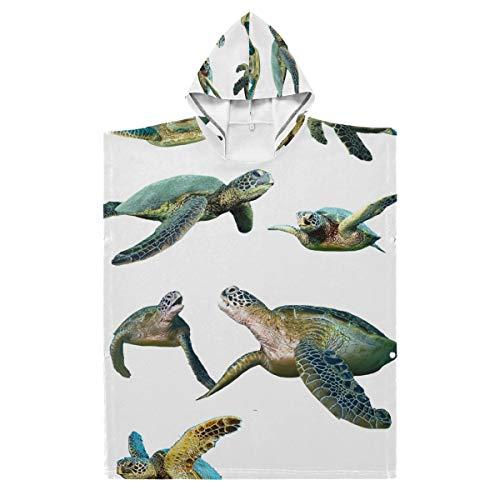 LENNEL Kinder langlebig für Schwimmbad Hot Spring Water Park Turtle 35,43 x 27,55 Zoll Baumwolle Weiche Bademantel Cape Hooded Strandtuch