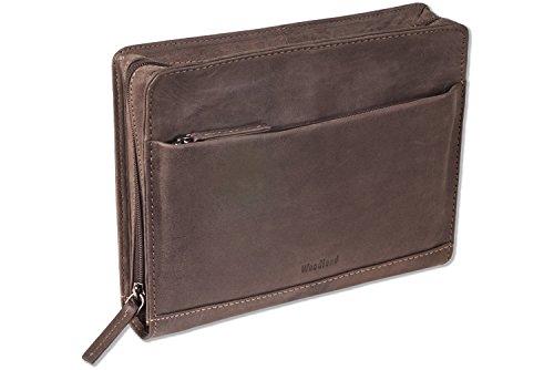 Woodland® Luxus-Handgelenktasche aus naturbelassenem Büffelleder in Dunkelbraun/Taupe