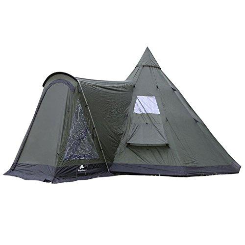 CampFeuer Tipi Zelt Fever für 4 Personen | Firstzelt | 3.000 mm Wassersäule | Indianerzelt für Camping, Wandern | Pyramidenzelt (olivgrün/schwarz)