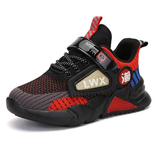 Kinder Schuhe Sportschuhe Jungen Klettverschluss Turnschuhe Mädchen Laufschuhe Outdoor Wanderschuhe Atmungsaktiv rutschfest Rot Größe 32