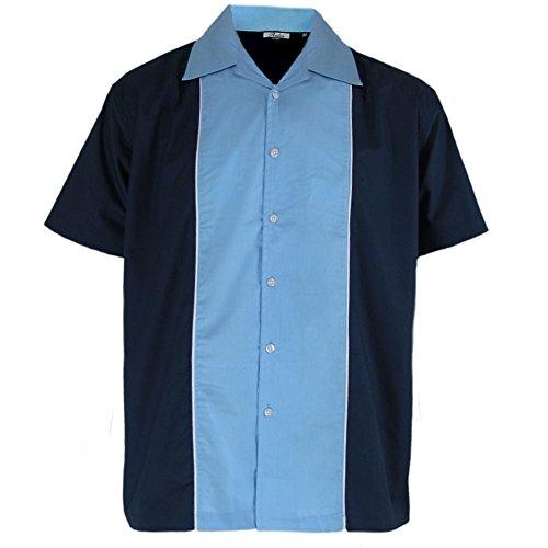 Relco - Herren Hemd kurzÄrmelig - Retro/Bowling-Stil - Blau/Himmel - M