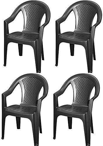 4X Gartenstuhl Bistrostuhl Balkonstuhl Stapelstuhl Rattan Stuhl Kunststoff Schwarz 0260