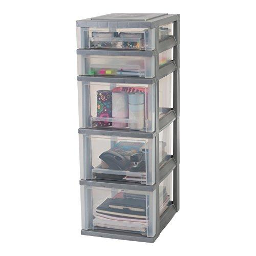 IRIS, Schubladenschrank / Schubladenbox / Rollwagen / Rollcontainer / Werkzeugschrank 'Smart Drawer Chest', SDC-323, mit Rollen, Kunststoff, silber / transparent  (B x T x H) : 29 x 39 x 87 cm