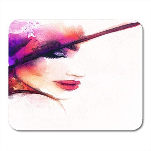 Mouse pad lady schöne frau porträt eleganter hut abstrakte aquarell schönheit mousepad für notebooks, Desktop-computer maus matten, Büromaterial