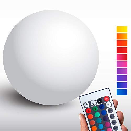 @tec Kabellose LED Kugellampe, 30cm Kugel-Dekoleuchte dimmbar, Farbwechsel, Fernbedienung – Gartenleuchte, Kugelleuchte - hängend & stehend verwendbar - wetterfest (IP54) für Haus & Garten