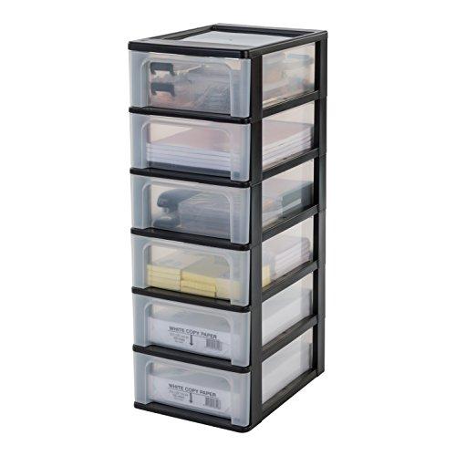 Iris Organizer Chest OCH-2006 Schubladencontainer-/ schrank, Kunststoff, schwarz / transparent, 35,5 x 26 x 72,5 cm
