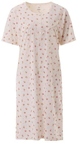 Zeitlos Nachthemd Damen Kurzarm Schlafshirt Knöpfe, Farbe:Off-White, Größe:L
