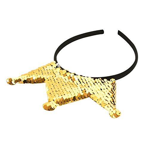 Oblique Unique® Haarreifen mit Krone und Pailletten mit Glitzereffekt Prinzessin Königin - Farbe wählbar - (Gold)