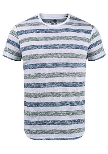 !Solid TET Herren T-Shirt Kurzarm Shirt Mit Streifen Und Rundhalsausschnitt, Größe:L, Farbe:Creme de Menthe (3017)