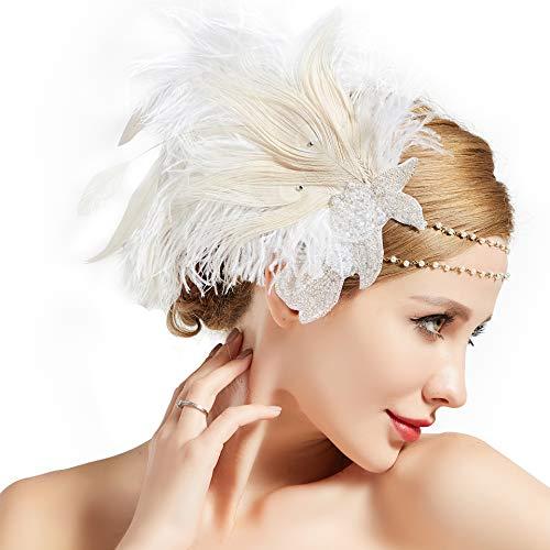 Coucoland 1920s Stirnband Feder Damen 20er Jahre Stil Charleston Haarband Great Gatsby Damen Fasching Kostüm Accessoires (Weiß)