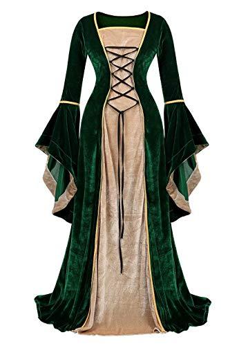 jutrisujo Mittelalter Kleidung Damen samtkleid lang samt Kleid Renaissance viktorianischen kostüm maxikleid Vintage Retro trompetenärmel Grün M