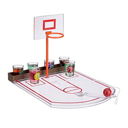 Relaxdays Basketball, transparent Trinkspiel, lustig, 6 Glas Shotgläser, Korb + Ball, Partyspiel HxBxT 22,5 x 24 x 44 cm, Standard
