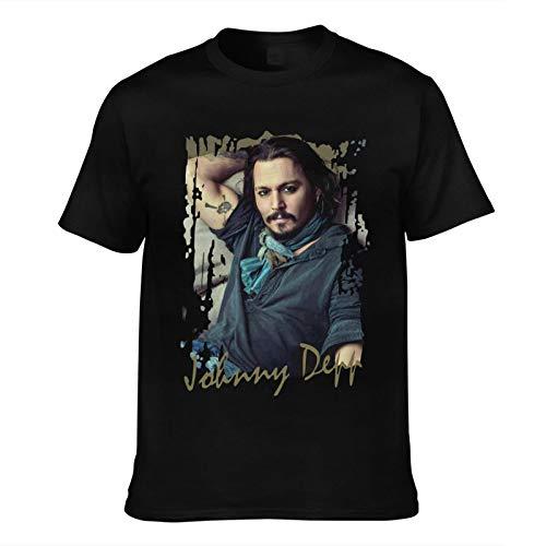 Herren T-Shirt Johnny Depp-Bedruckte Trendige Kurzarm-T-Shirts Herren Top T-Shirts asiatische Größe