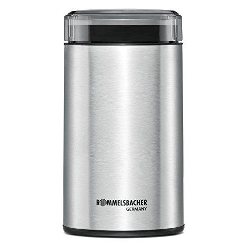 ROMMELSBACHER Kaffeemühle EKM 100 - Schlagmesser aus Edelstahl, Edelstahl Bohnenbehälter, Füllmenge 70 g, Mahlgrad über Mahldauer wählbar, auch für Gewürze, Zucker, Nüsse, 200 Watt, Edelstahl