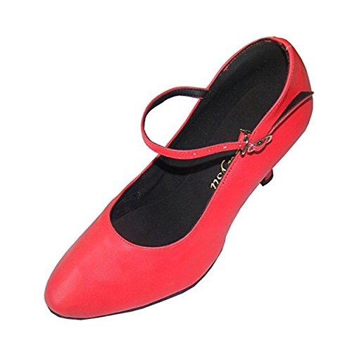 Moderne Tanzschuhe Damen in klassischem Rot aus echtem Leder