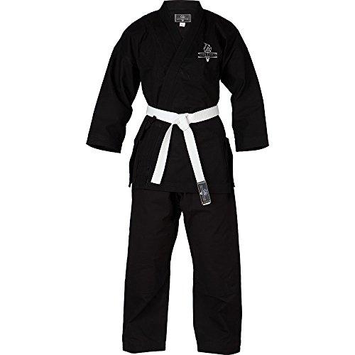 Athletics Gear Erwachsene Kinder Karate-Aikido-Uniform, mit Gürtel, Weiß/Schwarz, Schwarz, 0/130
