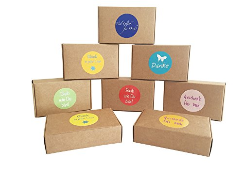 EAST-WEST Trading GmbH 12 braune Geschenkboxen Natur für kleine Geschenke, Candy-Boxen, für Kekse, Bonbons, Deko Geschenkboxen mit 24 netten Sprüche-Aufklebern