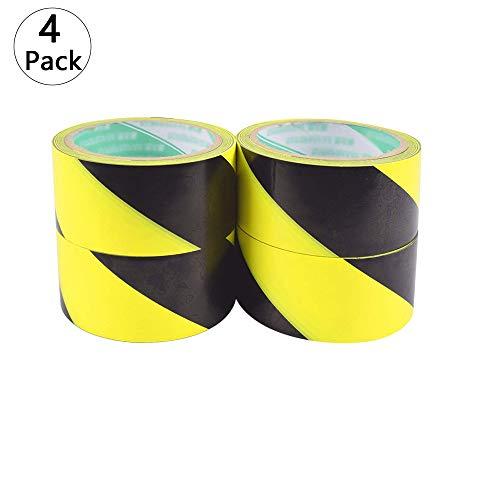 4 Pcs hochwertiges gelbes/schwarzes Warnband Anti-Rutsch-Klebeband Gefahr Warnung Haftmarkierung Barriere Bandstruktur Sicherheitsband PVC-Band ungiftig, Flammhemmend, Isolierung, Druck 44mm*18m