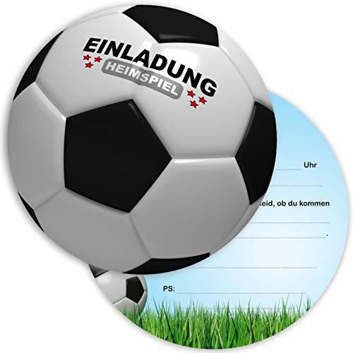 Ligano 8 Fußball Einladungskarten Kindergeburtstag - Geburtstagseinladungen für Kinder - Fussball rund (Schwarz)
