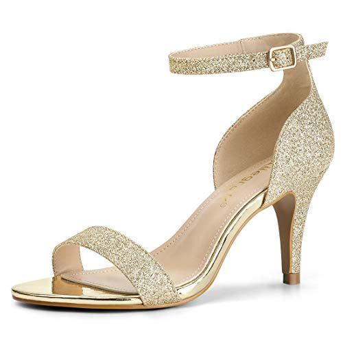 Allegra K Damen Peep Toe Glitzer Stiletto High Heels Sandalen Gold 40 EU/Label Size 9 US