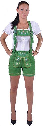 Almwerk Damen Trachten Lederhose Modell Blümli in braun, schwarz, rot und grün, Größe Damen:XL - Größe 42;Farbe:Grün