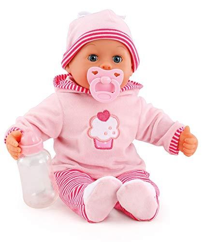 Bayer Design 93816AA Babypuppe First Words mit Schlafaugen, spricht 24 Babylaute, mit Schnuller und Flasche, 38 cm, rosa/Streifen