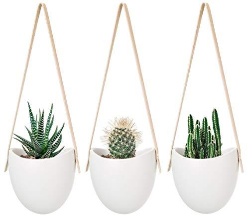 Mkouo Hängeampeln, Keramik Blumentopf Hängend Wand Vase Blumenampel deko für Sukkulenten/Kaktus, Perlweiss, 3 Stück