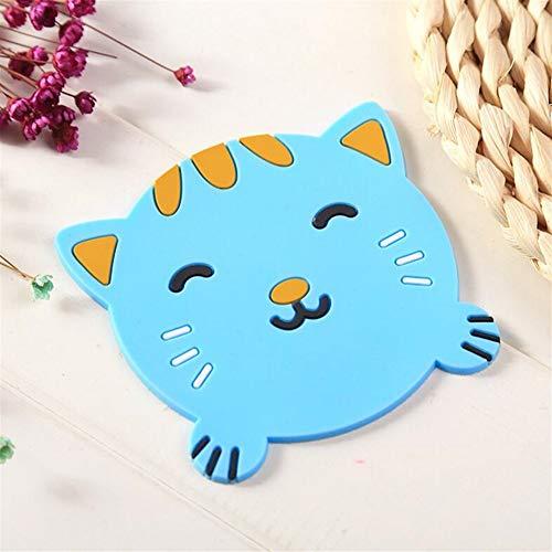 Küchenwaren Netter Tierachterbahn-rutschfeste Isolierauflage_Blue Cat 9.5cm von Huyizhi