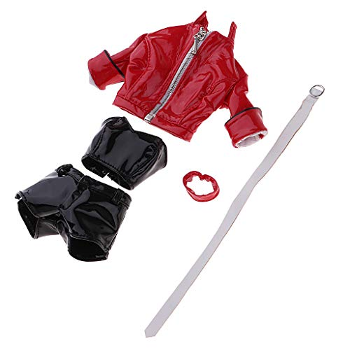 Toygogo 1/6 Lederjacke Kurze-Hose Puppenkleidung Set für 12-Zoll-Action-Figur