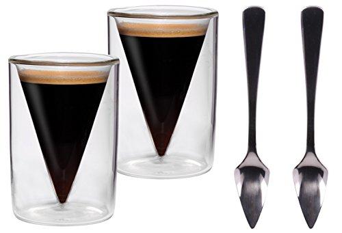 2x 70ml Spitzgläser + 2 Stück Spitzlöffel / 2er-Set 70ml doppelwandige Espresso- und Schnapsgläser im Spitzglasdesign mit Schwebe-Effekt + 2x
