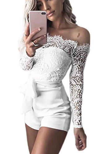 Jumojufol Damen Jumpsuit Sommer Aus Schulter Spitzen Patchwork Rückenfrei Gürtel Bodycon Kurzen Hosen Und Overalls Rompers White XS