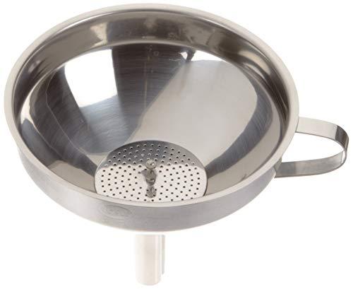 RÖSLE Gastro Trichter Ø 12 cm, Edelstahl 18/10, seitlicher Griff, herausnehmbarer Siebeinsatz, spülmaschinengeeignet