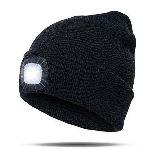 SANRF LED beleuchtete Kappe, USB aufladbare Mütze Camping Outdoor Unisex Strickkappe Scheinwerfer Cap Laufmütze mit 3 Helligkeitslevel Glühbirne für Jogging Walking Camping Angeln Grillen