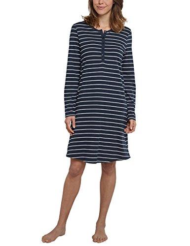 Schiesser Damen Langarm Nachthemd, 95cm Geringelt - Nachtblau - Größe 50