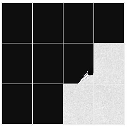 FoLIESEN Fliesenaufkleber Küche u. Bad-15x20 cm matt-60, PVC, Schwarz matt, 60 Stück, Einheiten