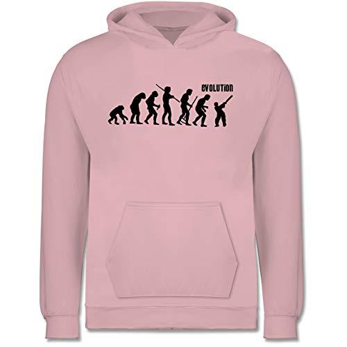 Shirtracer Evolution Kind - Cricket Evolution - 128 (7/8 Jahre) - Hellrosa - AFFE - JH001K - Kinder Hoodie
