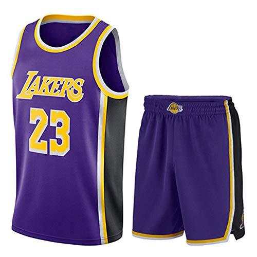 WANLN Männer Erwachsene NBA Lebron James # 23 Lakers Retro Basketball Trikots Sommeranzüge Kits Top Shorts 1 Set,Lila,S