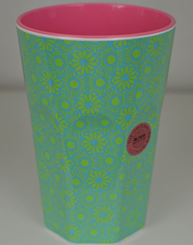 rice Becher Melamine Two Tone Latte Cup Marrakesh Print MAX Temp. 90C (Green & Turquoise innen Bubblegum Pink)