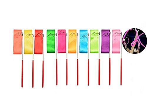 Regenbogen Band, Rhythmische Streamer 10 Stück 2 Meter Gymnastic Ribbon mit rutschfest Stabinfür Kinder Künstlerische Tanzen, Baton Twirling, Gymnastik, Ausbildung, Fun Aktivitäten 10 Farben