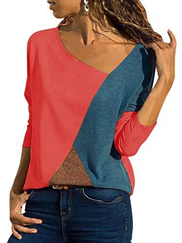 T-Shirt Damen V Ausschnitt Kurzarm/Langarm Sommer Casual Farbblock T Shirt Top Bluse Oberteil (3-Langarm-Orange, Small)