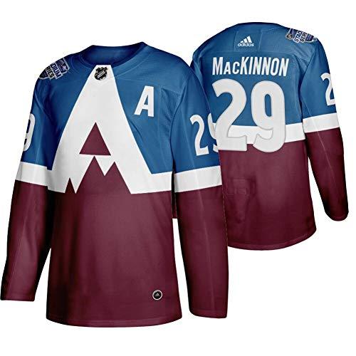 Herren T-Shirt Eishockey Jersey NHL Colorado Avalanche MacKinnon #29 Home Hockey Trikot Youth Training Trikot Hockey Uniform Leichtathletik Shirts Gr. XXL, burgunderfarben