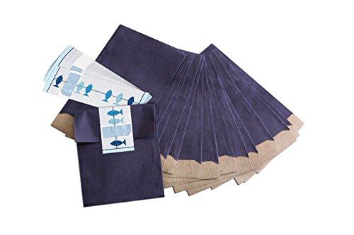 25 kleine blaue Geschenktüten; Papiertüten (13 x 18 cm) mit beschreibbarem Aufkleber