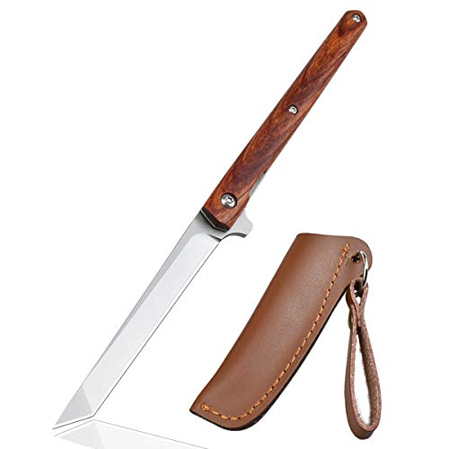AUBEY Tanto Messer Outdoor Klappmesser, Taschenmesser mit Holzgriff, Survival Messer Holz Outdoormesser, Scharf Camping Knife