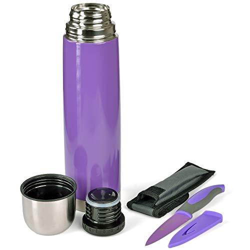 GRÄWE Thermoflasche mit Allzweckmesser, Outdoor, Set, 1L Vakuum-Isolierte Isolierflasche mit Drehverschluss inkl. farblich passendem Messer - Lavendel