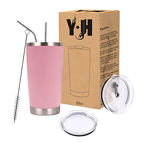 Y·J&H 20oz (550ml) Doppelwandig Vakuum Isolierter Autobecher, Edelstahl Reiseflasche, Thermobecher Kaffee to Go mit 2 Spritzfestem Deckel 2 Strohhalm, Rohrbürste,BPA Free - Rosa