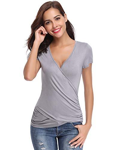 Hawiton Damen T-Shirt in Wickeloptik Sommer Kurzarm Top mit Tiefer V-Ausschnitt Elegante Slim Shirt Bluse Modischer Oberteile, Grau, M