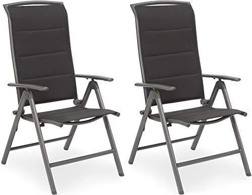 Brubaker 2er Set Gartenstühle Milano - Hochlehner Stühle klappbar - 8-Fach verstellbare Rückenlehnen - Klappstühle Aluminium - Wetterfest - Silbergrau