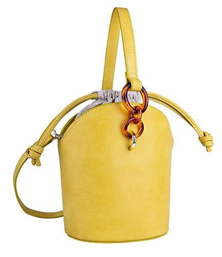 SIX Damen Handtasche, Henkeltasche in senfgelb mit Kordelverschluss, goldenen Details und Ringen in Hornoptik (726-666)